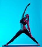 女子瑜伽exercices 免版税库存照片