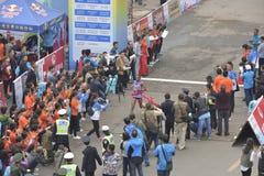女子的马拉松的冠军 免版税库存照片