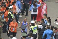 女子的马拉松的冠军 免版税图库摄影