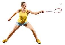 女子羽毛球与shuttlecock的球员版本 图库摄影