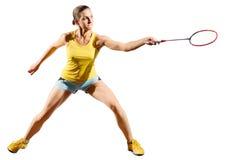 女子羽毛球没有shuttlecock的球员版本 免版税库存照片