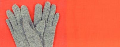 女子般地的手套和披肩,衣裳为秋天或冬天,温暖的服装概念,题字的地方 免版税库存图片