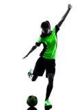 女子足球运动员被隔绝的剪影 图库摄影