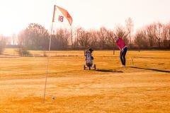 女子高尔夫球运动员在晚上阳光下的播放一个回合 库存图片