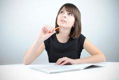 女学生写道 免版税图库摄影