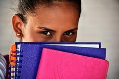 女学生和恐惧 免版税库存图片