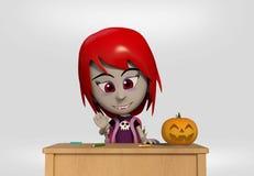 女学生打扮了吸血鬼 库存例证