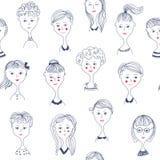 女孩'面对与逗人喜爱的设计,传染媒介例证的无缝的样式 库存例证
