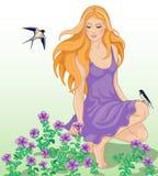 女孩、花和燕子 向量例证