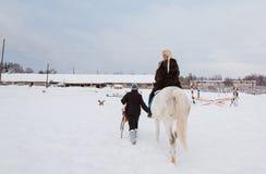 女孩、驯马师和白马在一个冬天 库存照片