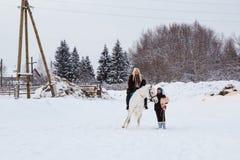女孩、驯马师和白马在一个冬天 库存图片