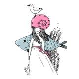 女孩、鱼、海鸥、海草、海星和圆环 库存图片