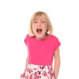 女孩一点呼喊的年轻人 免版税图库摄影