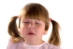女孩一点困疲乏 免版税图库摄影