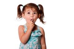 女孩一点惊奇的小孩 免版税库存照片