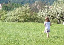 女孩一点春天走 免版税库存照片