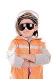 女孩一顶安全帽的建筑工人和 免版税图库摄影