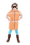 女孩一顶安全帽的建筑工人和 库存照片