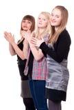 女孩三个年轻人 图库摄影