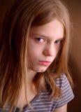 女孩不快乐的年轻人 库存照片