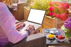 女孩与在室外咖啡馆的膝上型计算机一起使用 免版税库存图片