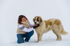 女孩与她的牧羊犬的喜爱时候在冬时 免版税库存照片