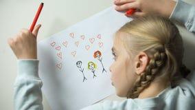 女孩与心脏标志的绘画家庭,孤儿作梦关于父母 股票录像