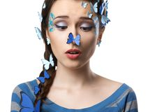 女孩与蝴蝶的艺术构成 库存照片