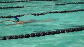 女孩严谨地在接踵而来的体育运动游泳竞赛的蛙泳被训练 活动公共 股票录像