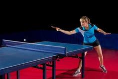 女孩乒乓球球员被隔绝 库存图片
