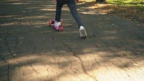 女孩乘坐滑行车 股票录像