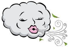 女孩云彩吹的风动画片 免版税图库摄影