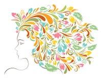 女孩五颜六色的花卉发型 皇族释放例证