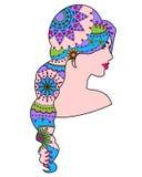 女孩五颜六色被绘的头发 皇族释放例证