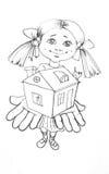 女孩产生房子玩具 图库摄影