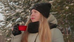 女孩享受雪秋天 被编织的形状的年轻女人喝茶在森林里在期间降雪 股票视频