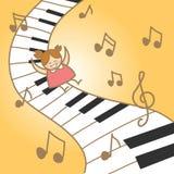 女孩享受音乐钢琴摘要 免版税图库摄影