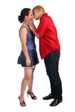 女孩亲吻人年轻人 库存照片