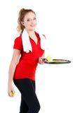 女孩休息在锻炼以后的网球员 免版税库存图片