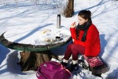 女孩休息,当旅行在冬天风景时 免版税库存照片