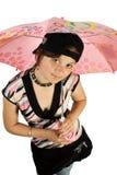 女孩伞年轻人 免版税图库摄影