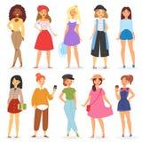 女孩传染媒介年轻女性少年字符和美好的少女青少年的例证girlie套时兴的女朋友 库存例证