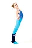 女孩体操棍子 免版税图库摄影