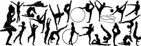 女孩体操运动员运动员被隔绝 免版税库存照片