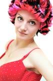 女孩佩带的假发 免版税图库摄影