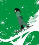 女孩例证雪板运动 免版税图库摄影