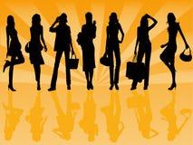 女孩例证shoping的向量 免版税库存照片