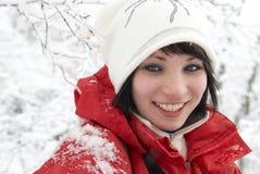 女孩俏丽的冬天 图库摄影