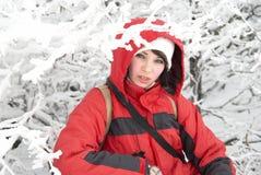 女孩俏丽的冬天 库存照片