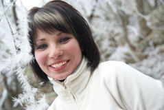 女孩俏丽的冬天 库存图片
